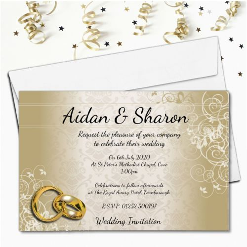 10 Personalised Elegant Gold Swirl Wedding Invitations Day or Evening N69